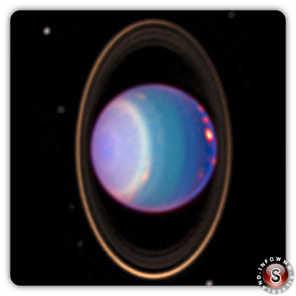 Urano con gli anelli e i satelliti