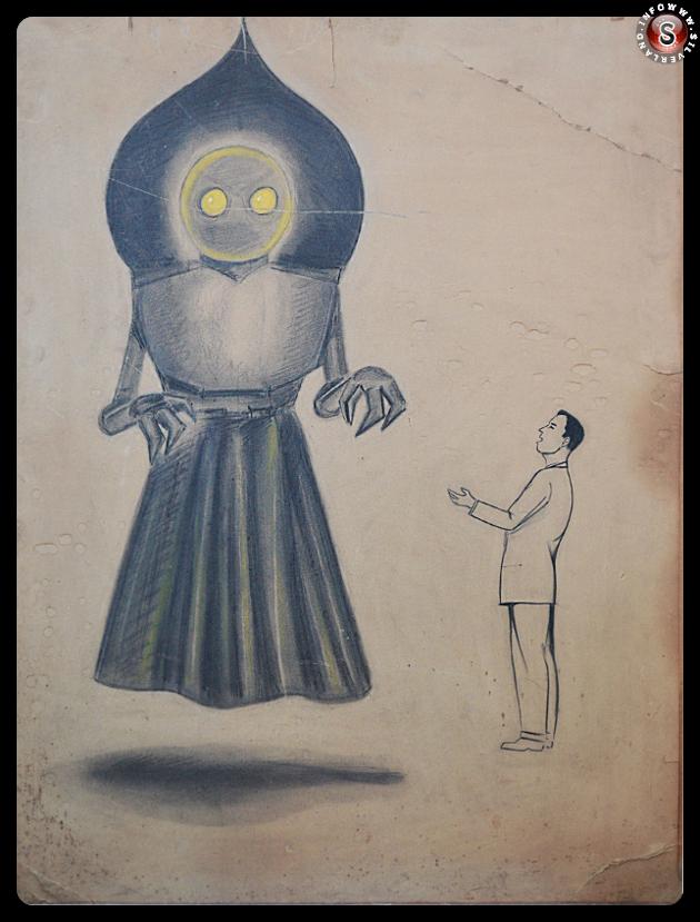 Il disegno originale del mostro di Flatwoods di un disegnatore di schizzi di New York. Per gentile concessione di The Flatwoods Monster Museum