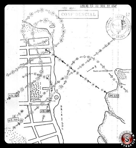 """Alcune traiettorie circolari e diritte disegnate dal personale militare dell'operazione """"Plato"""" ( piatto )"""