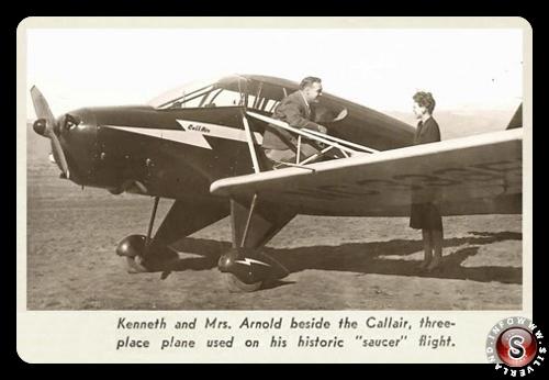 Kenneth Arnold con il suo aereo nel 1947 un Call-Air A2  NC - 33355