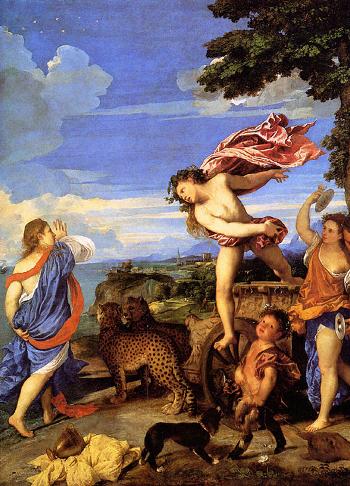"""Tiziano Vecellio (1520 -1523) Arianna e Bacco  """"parte del quadro """""""