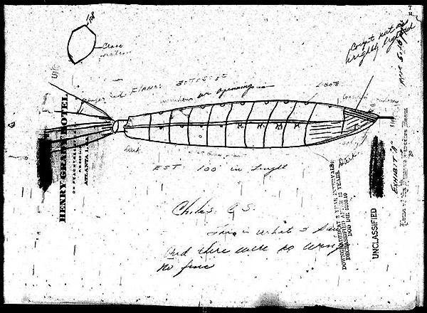 Disegno del pilota Clarence Chiles per gli investigatori del Sign - 26 luglio 1948.