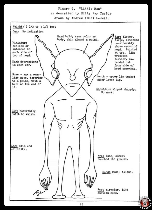 Figura 9. Piccoli omini descritti da Billy Ray Taylor, disegno di Andrew ( Bud ) Ledwith