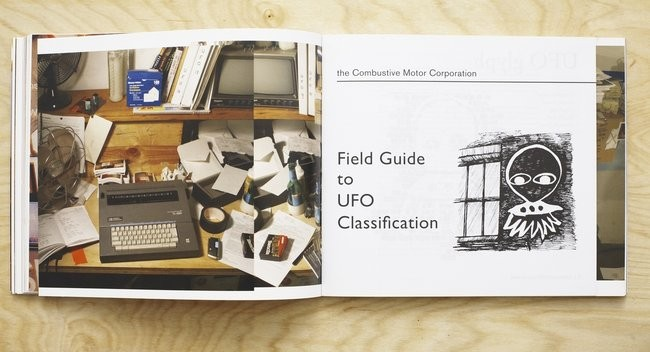 "Photograph of research workspace (left) and ""Field Guide to UFO Classification"" (right)."