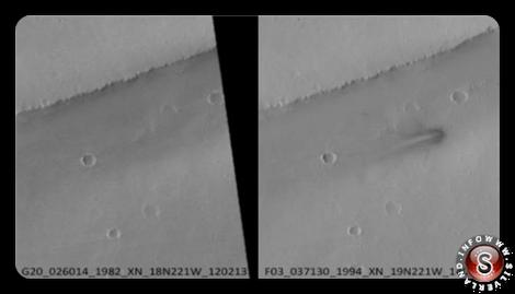 Foto della pianura prima e dopo l'impatto del presunto UFO