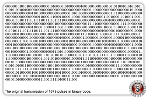 The original trasmission of 1679 pulses in binary code