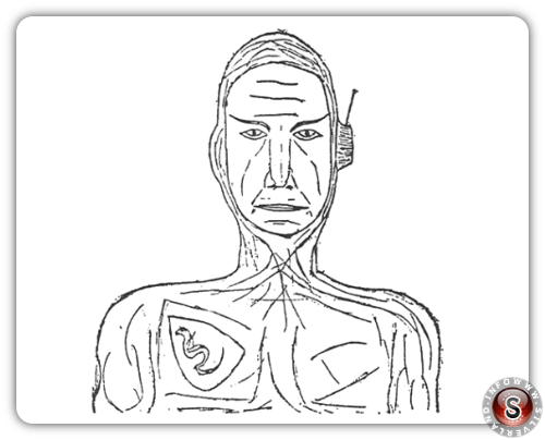 """Il """"comandante"""" incontrato sul disco volante, disegnato da Schirmer credit: Wendelle Stevens"""