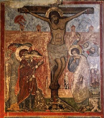Cattedrale  Svetitskhoveli, Mtskheta, Georgia  ( XVII sec.) La Crocifissione di Cristo