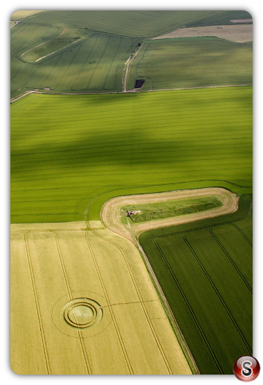 Crop circles West Kennett Longbarrow, Near Avebury, Wiltshire 2014