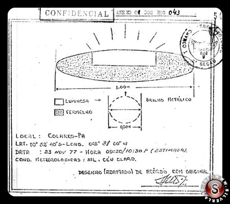 Uno dei disegni delle navi avvistati secondo un rapporto.