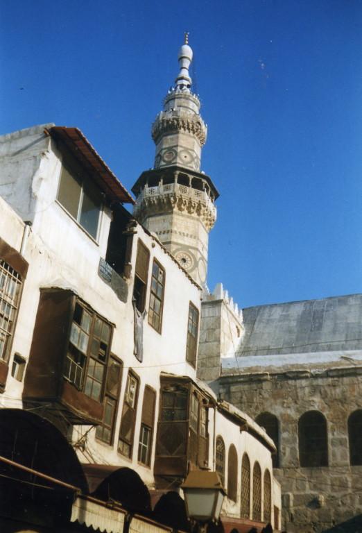 Damaskus Omajadenmoschee Minarett (Kopf des Johannes des Täufers)
