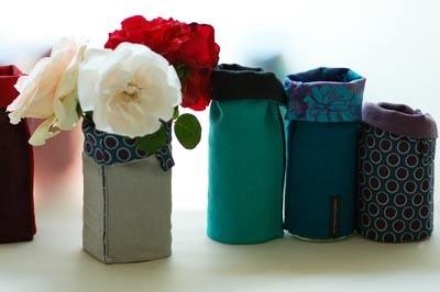 offene Vasenhüllen aus Leinen und Baumwolle - auch zum wenden