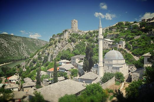 Pocjitelj Bosnia Herzegovina la città di pietra sito UNESCO vista dall'alto panoramica