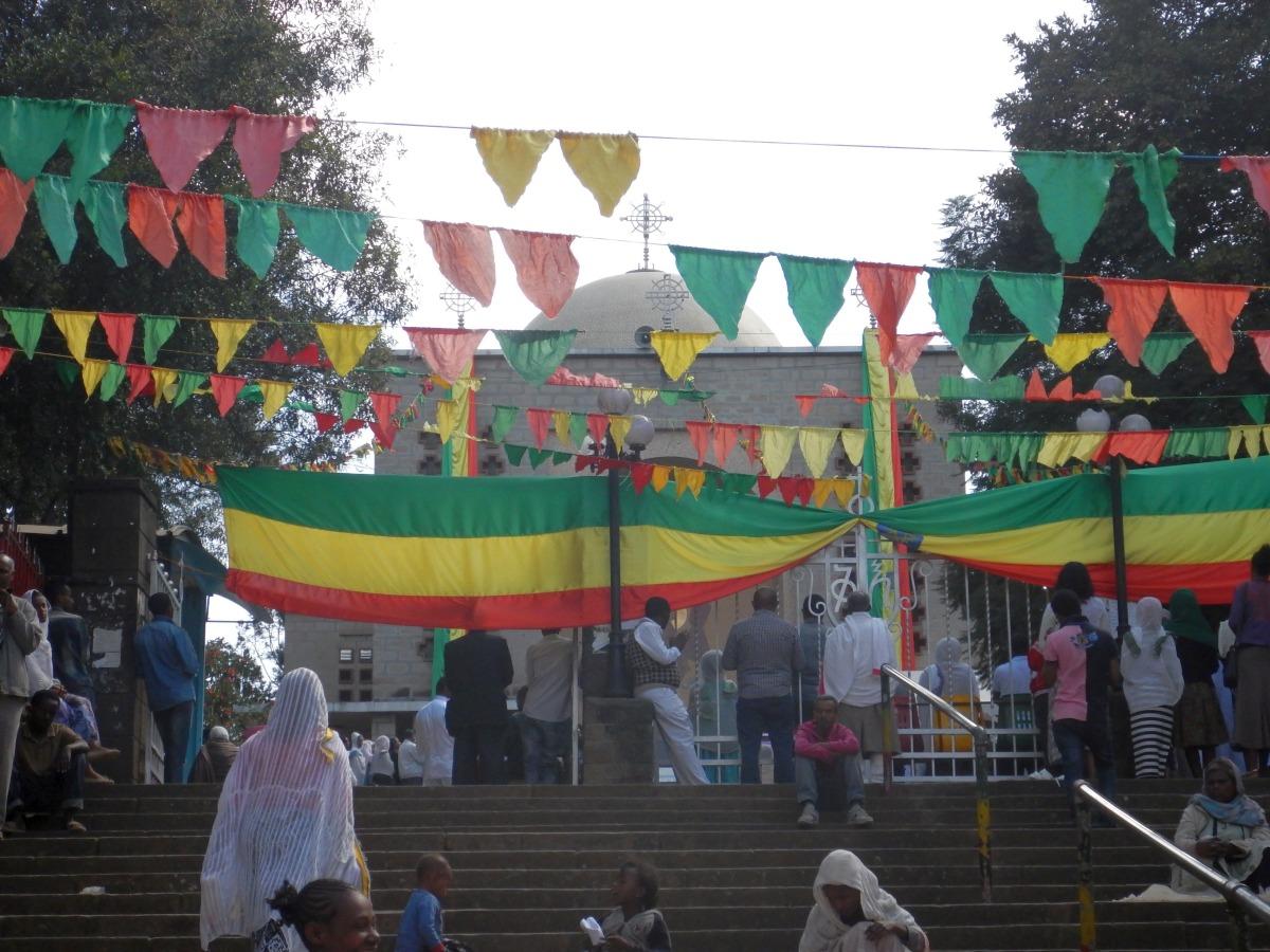 Visite de l'église Saint Estephanos d'Addis Abeba en Ethiopie.