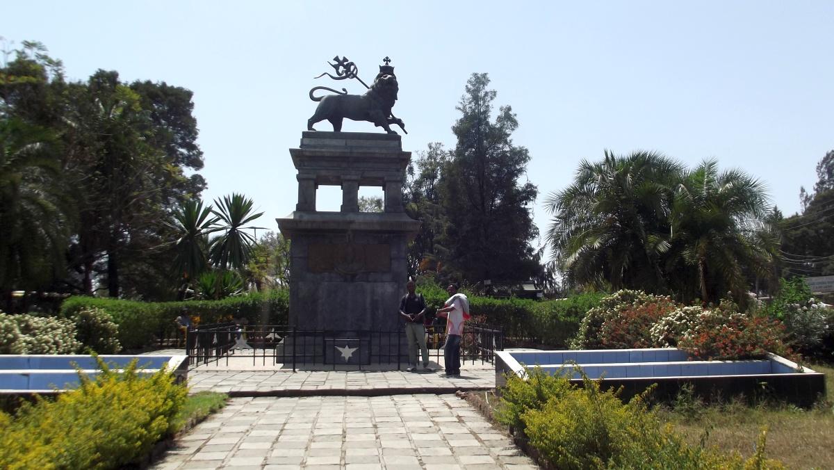 Le Lion de Judah a vaincu. Trek, randonnée à Addis Abeba. Visite de la gare d'Addis Abeba en Ethiopie.