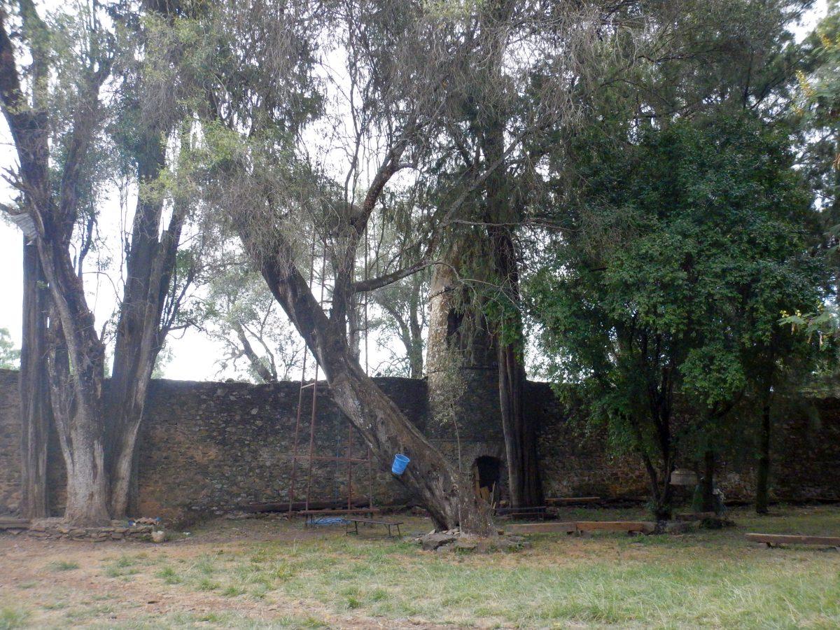 Une tour de guet. Voyage Séjour Road Trip Trek Trekking Randonnée en Ethiopie. Visite de Gondar en Ethiopie. L'Eglise Debre Birham Selassie de Gondar