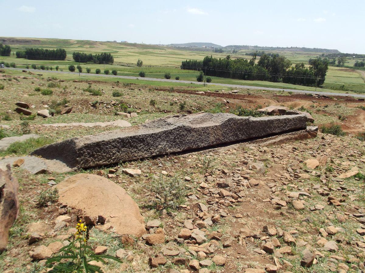 Une stèle abandonnée. Trek, randonnée et visite d'Axum en Ethiopie. Autour d'Axum. Gobo Dura, la Forêt de Granit