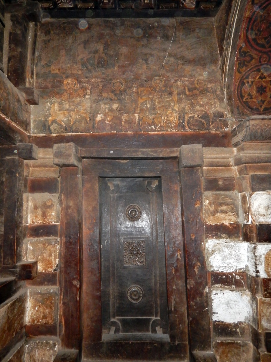 Les icônes muraux de l'église Yemrehanna Kristos. Trek, randonnée à Lalibela en Ethiopie. Visite de l'Eglise Yemrehanna Kristos en Ethiopie.