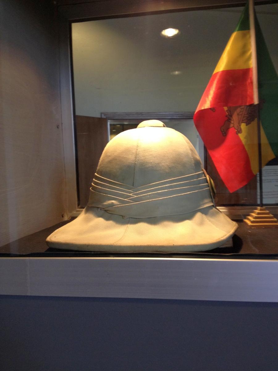 Un chapeau du Roi des rois Haile Selassie I. Voyage Séjour Trekking et randonnée, Road trip en Ethiopie.  Région Amhara.Visite du Red Terror Muséum d'Addis Abeba en Ethiopie.