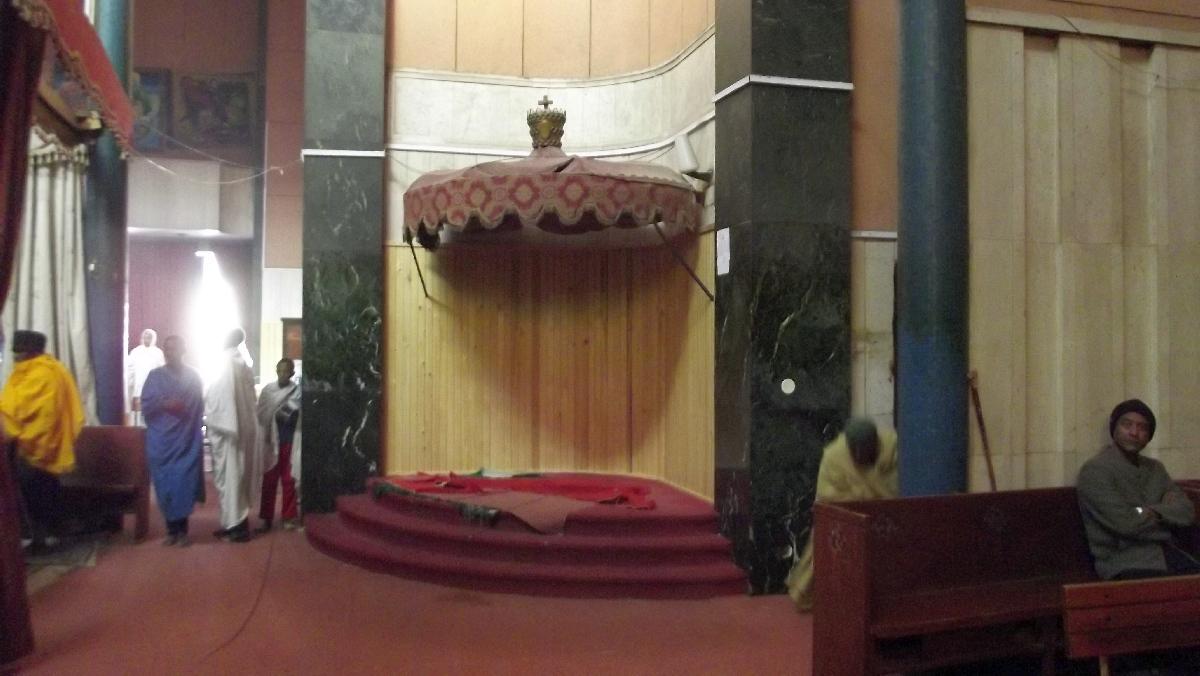 Le Trone du Roi des rois Haile Selassie I à Debre Libanos / Haile Selassie I's Throne in Debre Libanos Church. Trek, randonnée en Ethiopie. Eglise de Debre Libanos en Ethiopie