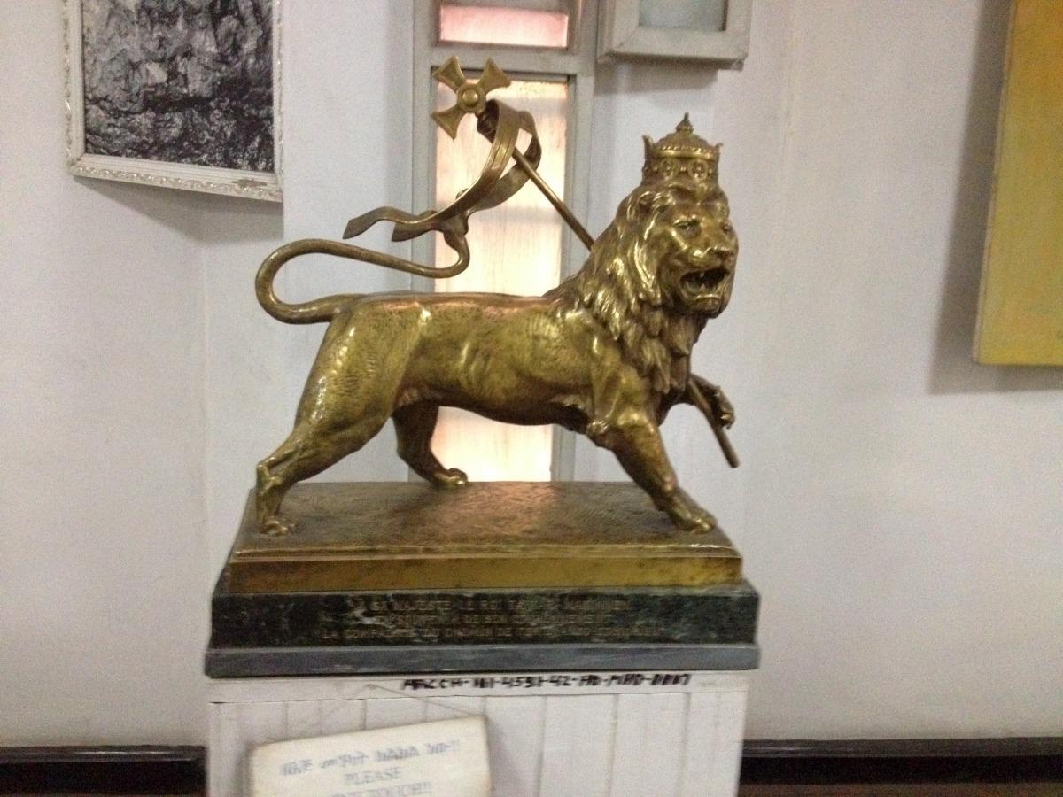 Le Lion de Judah a vaincu. Voyage Séjour Trekking et randonnée, Road trip en Ethiopie.  Région Amhara. Visite du National Muséum d'Addis Abeba en Ethiopie.
