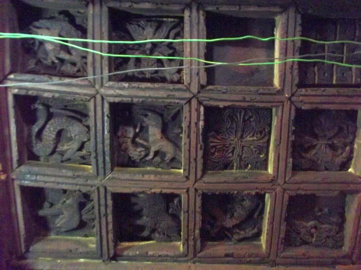 Le Plafond représente la faune et la flore des alentours proches lors de la construction de l'église. Voyage Séjour Road Trip Visite trekking et randonnée. Le monastère de Debre Damo en Ethiopie.  L'Eglise Abba Aregawi.gawi.