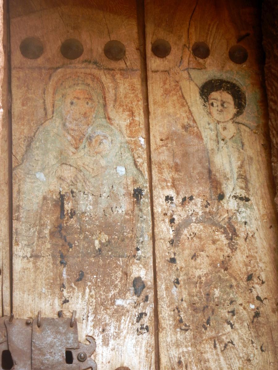 La Vierge et St Georges, fresque datant du 12ème siècle. Visite des églises Beta Gabriel et Beta Raphael de Lalibela en Ethiopie