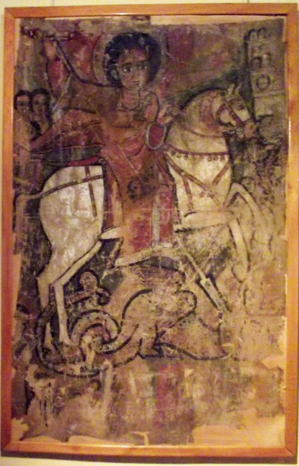 Icônes éthiopiennes sur peau, St Georges terrassant le dragon. Mawuli-Ethiopie Art Ethiopien Artistes Peintres Association Plateforme Commerce Textile Café Epices Artisanat Ethiopien Solidaire Equitable en Ethiopie Made in Ethiopia