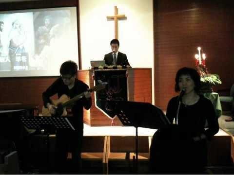 能勢川キリスト教会 礼拝 賛美の様子