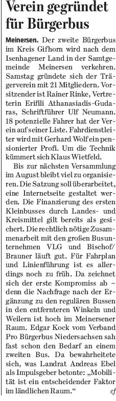 Gifhorner Rundschau vom 25.4.2016