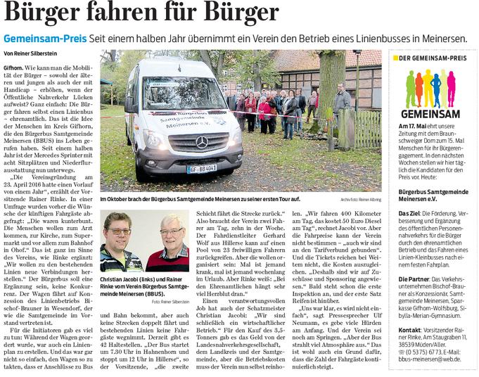 Gifhorner Rundschau vom 21.03.2018