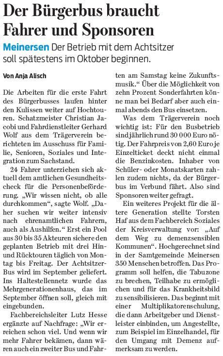 Gifhorner Rundschau vom 9.6.2017