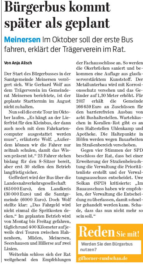 Gifhorner Rundschau vom 6.5.2017