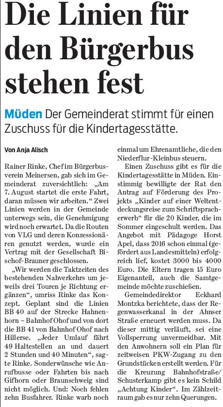 Gifhorner Rundschau vom 16.3.2017