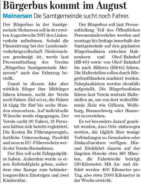 Gifhorner Rundschau vom 7.3.2017