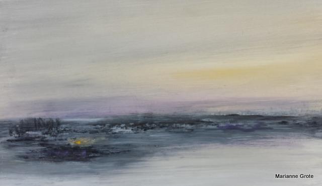Abendstimmung, 30 x 50 cm, Mischtechnik auf Leinwand, 2016
