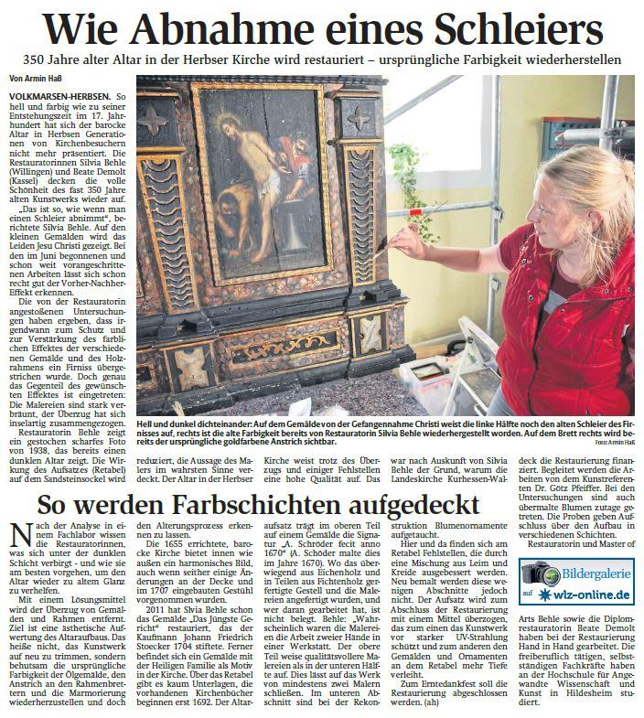 Wie Abnahme eines Schleiers: 350 Jahre alter Altar in der Herbser Kirche wird restauriert.