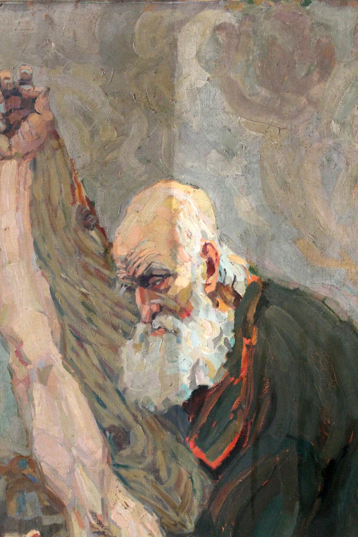 """Während der Reinigung des Gemäldes """"Kreuzabnahme"""" von Rudolf Siegmund (Anfang 20. Jh.), ev. Kirche Wahnhausen"""