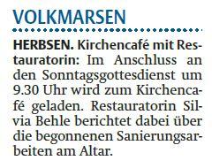 In Herbsen findet am Sonntag, 15.07., im Anschluss an den Gottesdienst (09:30 Uhr) ein Kirchencafé statt, bei dem Restauratorin Silvia Behle die begonnenen Maßnahmen am Altar der Ev. Kirche Herbsen und die bislang erzielten Ergebnisse der Gemeinde vorstel