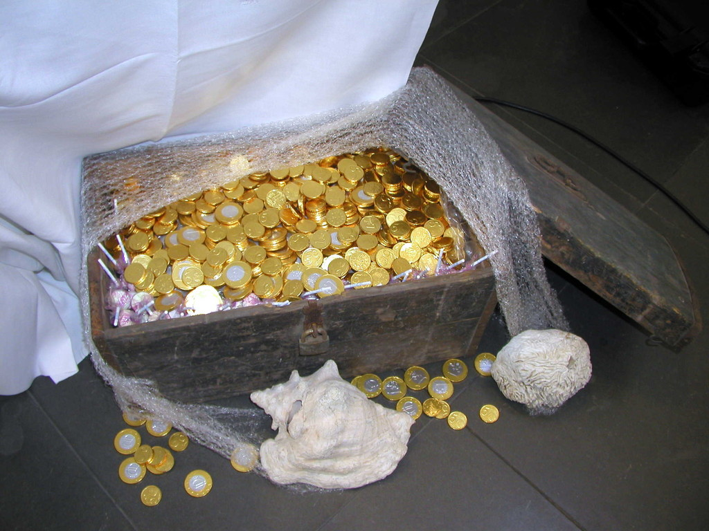 Goldmünzen aus Schokolade für die Kinder