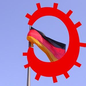 Dieses Bild von Thorsten Hülsberg zeigt eine wehende Deutschlandfahne, die scheinbar von einem Virus verschluckt wird.