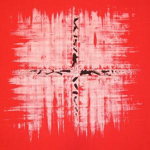 Eine Leinwandarbeit von Thorsten Hülsberg aus lingua fantasia in rot, weiß und schwarz mit Fantasie-Schriftzeichen.