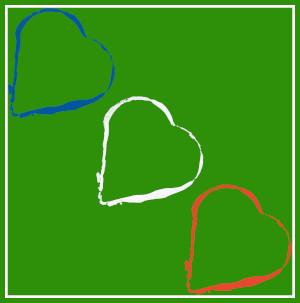 Dieses Bild von Thorsten Hülsberg zeigt auf typischem BALLackeruntergrund drei Herzen in den französischen Nationalfarben.