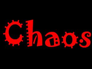 Dieses Bild von Thorsten Hülsberg zeigt auf schwarzem Grund in roter Schrift, die an das Virus erinnert, das Wort Chaos.