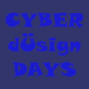 Dieses Bild von Thorsten Hülsberg zeigt in unterschiedlichen Blautönen in drei Zeilen den Schriftzug CYBER dÜsign DAYS.