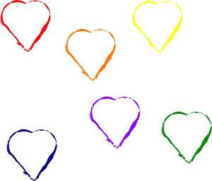 Dieses RAINBOWarea-dÜsign von Thorsten Hülsberg zeigt sechs tanzende Herzen in den einzelnen Regenbogenfarben auf weißen Grund.