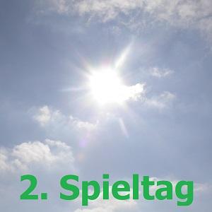 Ein Farbfoto mit strahlender Sonne und der Aufschrift 2. Spieltag