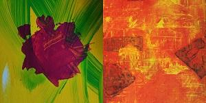 Das Bild zeigt Ausschnitte der Gemälde NeuRosen und Bonfire 2014 des Künstlers Thorsten U. Hülsberg.
