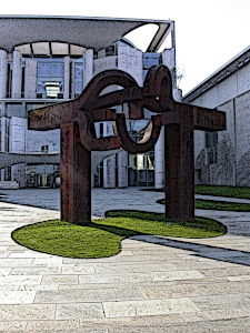 Dieses Bild von Thorsten Hülsberg zeigt das Kanzleramt in Berlin in einer Comicversion.