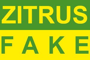 Dieses Bild von Thorsten Hülsberg zeigt auf grünem und gelben Hintergrund im Farbwechsel die Worte ZITRUS FAKE.